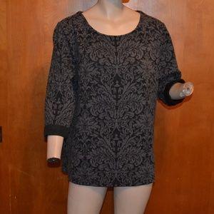 JM Collection Black Gray Floral Design Sweater L